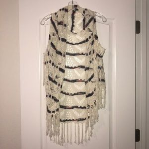 Cream Fringe Knitted Shawl